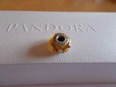 Charm ✰ Murano - Glas / 925 Silber ✰ PANDORA ✰ gelb / weiß-gelbe Punkte ✰ w.NEU