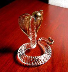 COBRA Snake hand blown ART GLASS figurine miniature GIFT wild animal collection