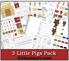 3 Little Pigs Pack! Free 3 Little Pigs Pack for ages 2 to 7 - Over 60 pages and 27 pages in a Tot PackFree 3 Little Pigs Pack for ages 2 to 7 - Over 60 pages and 27 pages in a Tot Pack 3 Little Pigs Activities, Rhyming Activities, Language Activities, Book Activities, Nursery Rhymes Preschool, Preschool Ideas, Fairy Tales Unit, Fairy Tale Theme, Traditional Tales