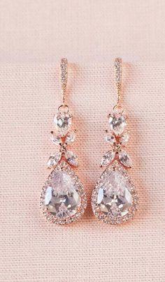 417e785b9 Rose Gold Bridal earrings Wedding jewelry Crystal Wedding earrings, Gold  Bridal Necklace Bridal jewelry, Amielynn Earrings