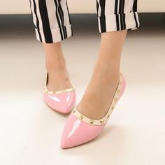 New arrive rivet pointed toe women flats PU leather women shoes gladiator flats sexy stud women ballet flat shoes women