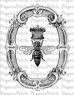 Queen Bee in Oval Frame Digital Download or Iron on Transfer    A great image for all types of crafts! Image can be used to decorate pillows, tea towels, burlap, feedsacks, t-shirts, bed linens, wallpaper and more!    This high-resolution 300 dpi digital collage sheet is an 8.5x11-inch file that you can print again and again to use in your personal crafts or for items to sell.    As a buyer you agree not to use the images from the collage sheet for collage sheet resale or collage sheet…