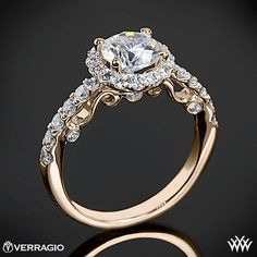 18k Rose Gold Verragio INS-7003 Half Eternity Halo Diamond Engagement Ring