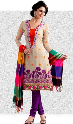 A desire that evokes a sense of belonging with a striking details.   The dazzling off white bemberg georgette churidar suit have amazing embroidery patch work is done with resham and zari work.   Beautiful embroidery work on kameez is stunning.   The entire ensemble makes an excellent wear.   Contrasting purple santoon churidar and multicolor dupatta is available with this suit.   Slight Color variations are possible due to differing screen and photograph resolutions.