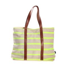 Canvas Leather Tote Green