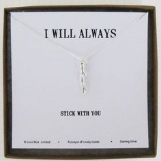 Stick with you'sterling silver necklace