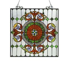 Colorful-Handcrafted-Tiffany-Style-Stained-Cut-Glass-Window-Panel-25-X-25