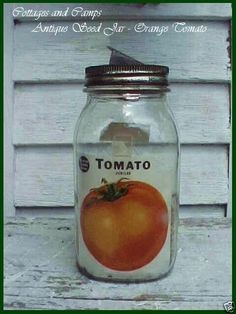 Antique PRIMITIVE VTG GARDEN Glass ~ TOMATO SEED JAR PACKET LABEL Store Display