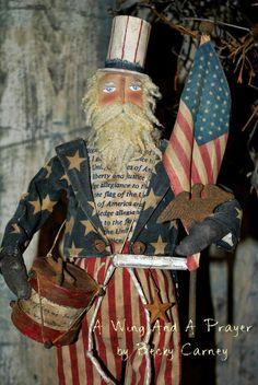 Uncle Sam, by Becky Carney Primitive Santa, Primitive Folk Art, Primitive Crafts, Primitive Patterns, Primitive Homes, Americana Crafts, Patriotic Crafts, Patriotic Decorations, Holiday Decorations