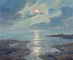 Frederick Judd Waugh (American, 1861-1940), The Risen Moon, 1926. Oil on canvas, 25 x 30 in. Visual Noise