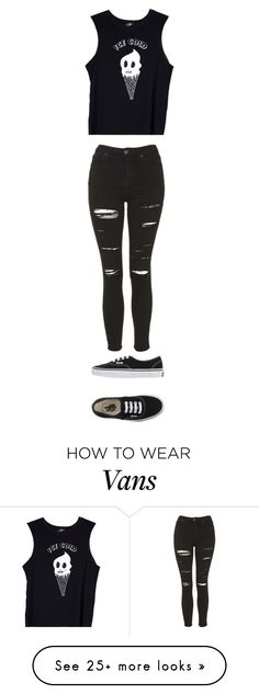 """""""Quickie- Black Muscle Tank + Ripped Skinnys"""" by indiegopearl on Polyvore featuring Topshop, Valfré and Vans"""