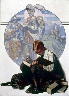 """""""Norman Rockwell, Boy Reading an Adventure Story, 1923  Possibly my favorite Rockwell"""""""