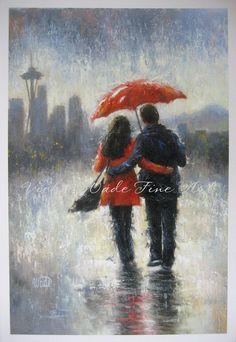 Seattle Lovers in the Rain Art Print Seattle by VickieWadeFineArt