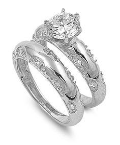 FOR SALE - ROUND CUT CZ DIAMOND ENGAGEMENT WEDDING RINGS SET