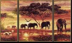 Schipper Triptych Paint By Numbers Africa Elephant Herd Scenery Paintings, Cross Paintings, Most Beautiful Paintings, Herd Of Elephants, Paint By Number Kits, 5d Diamond Painting, Large Painting, Home Art, Art Projects