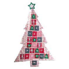 Large Fabric Christmas Tree Advent Calendar with 'Merry Christmas' Red Text