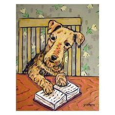 Airedale Terrier ,airedale print, gift for librarian,modern dog art,11x14 print, folk art, dog,airedale by SCHMETZPETZ on Etsy https://www.etsy.com/listing/61214208/airedale-terrier-airedale-print-gift-for