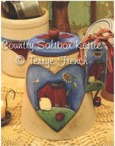 Country Saltbox Kettle, Terrye French, pattern packet email by PaintingWithFriends on Etsy