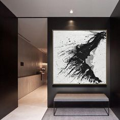 Hand-painted Minimalist Drip painting on canvas, black, white, grey, red. Abstract Canvas, Canvas Art, Painting Canvas, How To Paint Canvas, Blue Abstract, Painting Abstract, Minimalist Painting, Black And White Painting, Black White Art