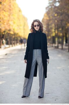 Long Proportions: high-waisted pants paired with a long coat