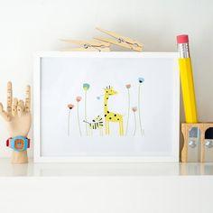 Giraffe and flowers print wall art Woodland Nursery Decor, Room Posters, Jungle Animals, Beautiful Drawings, Baby Room Decor, Flower Prints, Illustrations Posters, Wall Art Prints, Kids Room