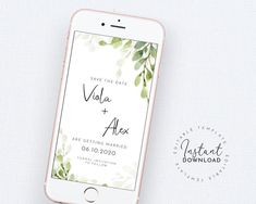 Electronic Save the Date Template, Smartphone Wedding Save the Date, Digital Save our Date, Greenery Save the Date, Smartphone Save the Date Bachelorette Party Invitations, Bridal Shower Invitations, Electronic Save The Date, Modern Save The Dates, Save The Date Templates, Botanical Wedding, Elegant Wedding, Greenery