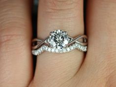 Original Erika 14kt White Gold Round FB Moissanite Double Twist Wedding Set (Other metals and stone options available) on Etsy, $1,765.00