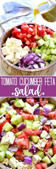 This Tomato, Cucumber & Feta Salad is fresh, flavorful, and SO delicious! It comes together quickly with just a handful of ingredients and is one of our favorite go-to salads for summer! I'm going to switch out the feta for mozzarella balls! Vegetarian Recipes, Cooking Recipes, Healthy Recipes, Cooking Food, Diabetic Recipes, Delicious Recipes, Food Food, Crockpot Recipes, Soup And Salad