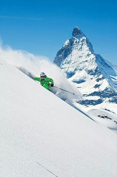 Skiing in the shadow of the Matterhorn, Zermatt, Switzerland. Zermatt's skiing is some of the best in the world. Its 153 miles of trails span three mountains—Klein Matterhorn, Gornergrat and Rothorn. Visitors can ski into Italy for the day, and, thanks to the Theodul Glacier, the season never ends. #Matterhorn #TheodulGlacier #Zermatt #Switzerland #Ski