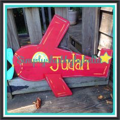 Personalized  Wood Door Hanger Airplane Great for hospital Door or nursery birth announcement by SimplyShabbyByBella on Etsy https://www.etsy.com/listing/162755441/personalized-wood-door-hanger-airplane