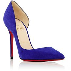Christian Louboutin Women's Iriza Half D'Orsay Pumps ($675) ❤ liked on Polyvore featuring shoes, pumps, purple high heel shoes, pointed toe pumps, slip on shoes, christian louboutin shoes and d'orsay pumps