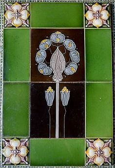 ¤ tiles panel by Alfred Meakin - ENGLAND - ANTIQUE ART NOUVEAU MAJOLICA SET 12-TILE C1900. floral design on two centre tiles framed with vibrant green tiles with small square floral tiles in the corners