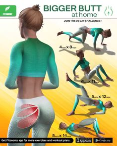 Best 11 Join the bigger butt home challenge, Install Fitonomy App now, by clicking the button below! Buttocks Workout, Butt Workout, Fun Workouts, At Home Workouts, Flexibility Workout, Workout Challenge, Workout Videos, Fitness Motivation, Exercise