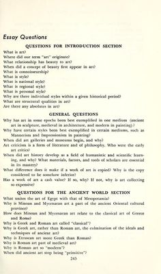 art history exam questions from History of art by Jean Anne Vincent.  Published [1955] by New York: Barnes & Noble.