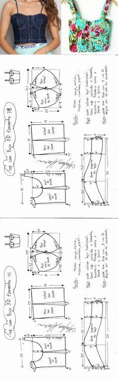 Выкройка топа-корсажа 36-56 размеры (шитье и крой)   Журнал Вдохновение Рукодельницы