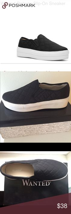 NWT! Wanted Railway Platform Slip-ons These are brand new in box Wanted Railway Platform Slip-on Sneakers in black. This sold out style is a women's size 8 and features an on trend quilted design. Very cute when worn with jeans or dress ! Wanted Shoes Platforms