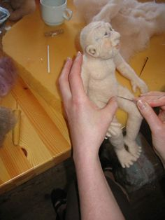 needle felting a doll