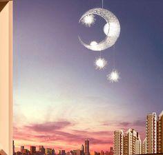 Moderne Personnalisé Lune Étoiles Lustre Enfants Chambre Lustres suspendus maison de lampe de plafond décoratif D'appareils D'éclairage(China (Mainland))