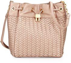Neiman Marcus Woven Drawstring Bucket Bag, Rose Gold / @kimludcom
