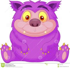 Cute Purple Monster Cartoon Stock Photography - Image: 34612782