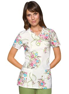 Buy Dickies Natural Elements Missy V Neck Persian Elegance Scrub Top for $19.45