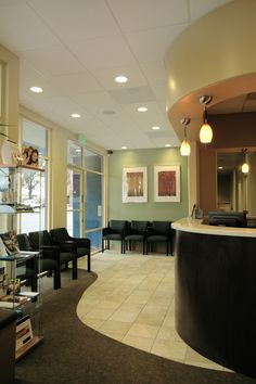 Heavy traffic area with tiles, the rest with carpet A+ Family Dentistry Waiting Area. www.aplusfamilydentistry.com