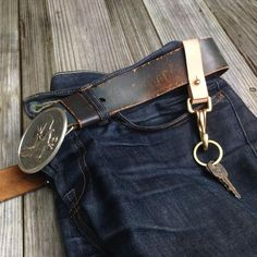 Handmade key lanyard with solid brass hardware and vegetable tanned leather. Finished with a light coat of saddle soap and beeswax. Vegetable Tanned Leather, Brass Hardware, Solid Brass, Key, Wallet, Personalized Items, Accessories, Unique Key, Purses