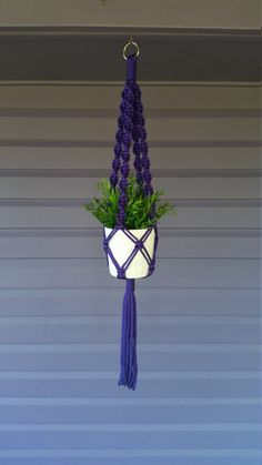Macrame plant hanger Purple by CutchysCraftCorner on Etsy