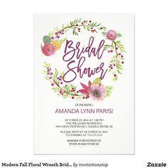 Modern Fall Floral Wreath Bridal Shower Invitation