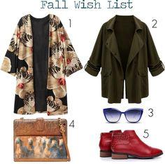 Fall Wishlist at www.forarealwoman.com  #fashion #blogger #blackfive #kimono