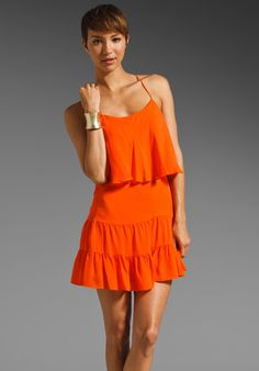 Haute Hippie Ruffle Tank Mini Dress in Tangerine