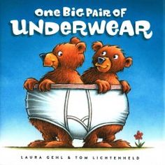 """""""One big pair of Underwear"""" by Laura Gehl and Tom Lichtenheld - Progressively larger groups of animals try to share a limited number of scooters, cookbooks, nap mats, and underwear."""