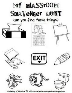 classroom scavenger hunt-GREAT for Open House night!