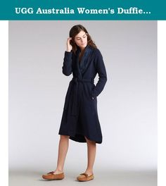 UGG Australia Women's Duffield Long Wrap Robe, Dark Pajama Blue Heather, Medium. Wrap yourself in luxury with this UGG Australia's Duffield shawl collar robe. Product Features: Durable double-knit with two butter soft materials bonded together Jersey exterior and a plush poly interior crafted from ultra-fine fibers Shawl collar Sash self bet On-seam side pockets Asymmetric high-low hemline Split cuff and hem Specialty stitching UGG flag label Fabric: 97% Cotton, 3% Spandex Pile: 100%…